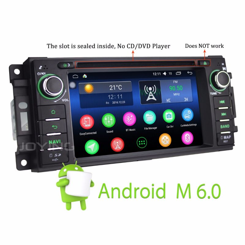 In Dash DVD Player Jeep Head Unit Android 6.0 Intel 2GB Car Stereo Radio support backup camera for dodge/chryser