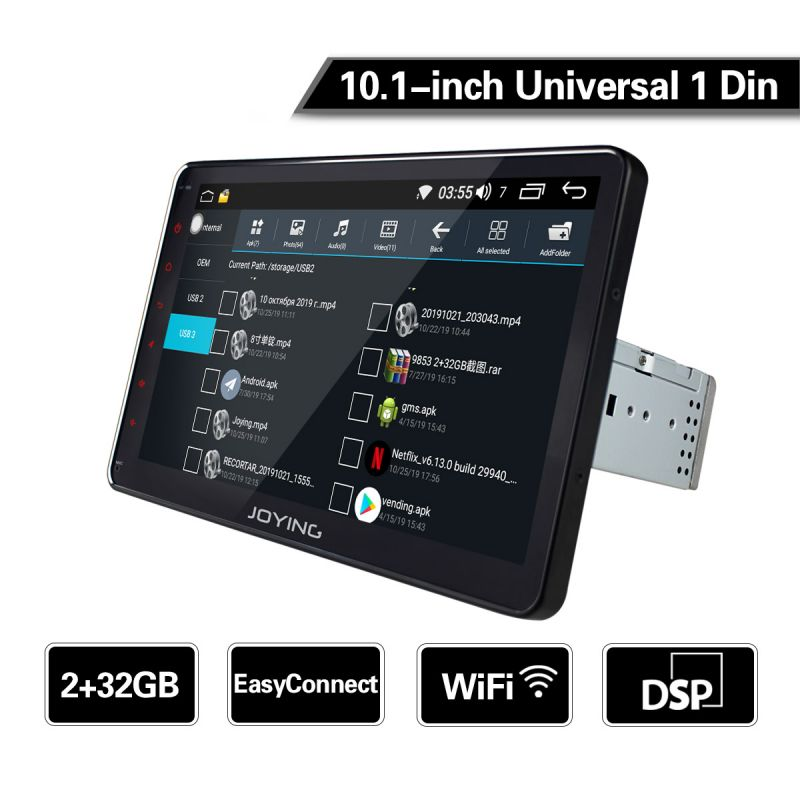 EU warehouse Joying 10.1 inch IPS Screen Head Unit Android 8.1 Single din 4G Car Stereo with DSP