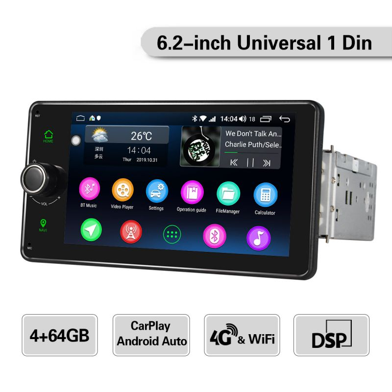 HD single din touch screen android auto head unit