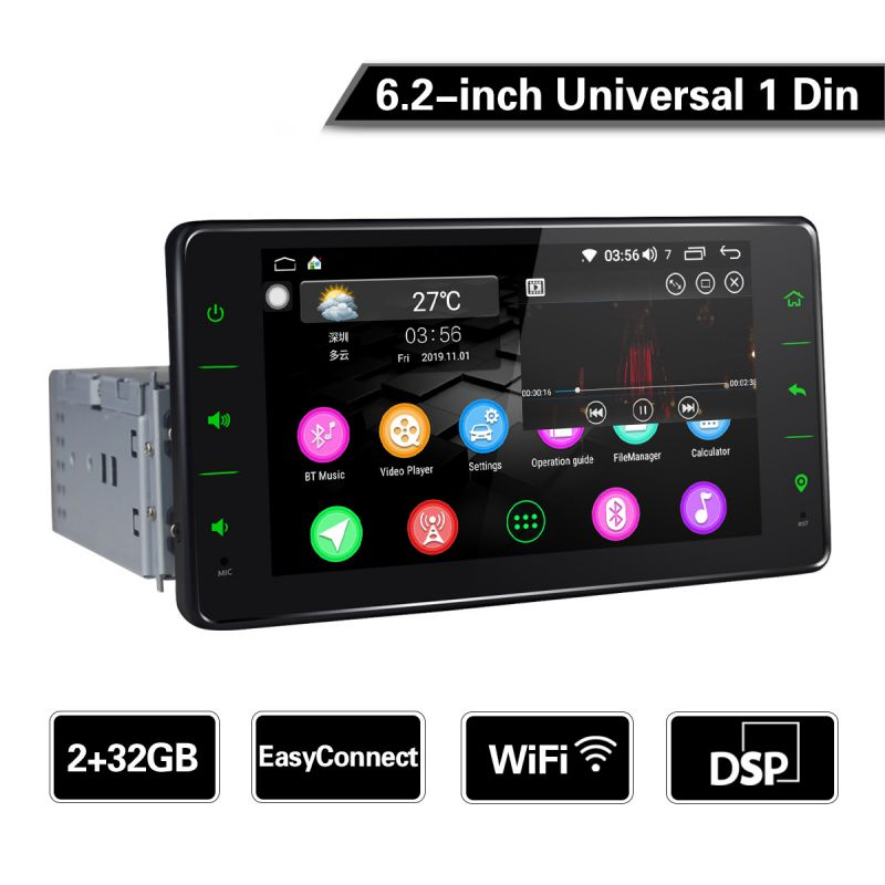 EU Warehouse Cheap 6.2 inch Single Din Car Stereo Android 8.1.0 Octa Core DSP Radio
