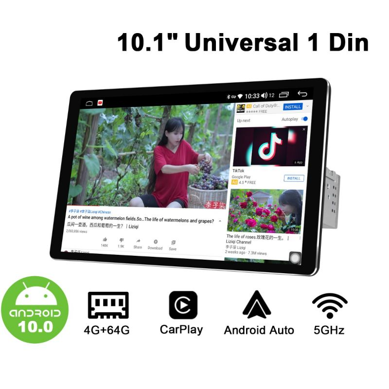 10.1 inch IPS Screen single din car radio
