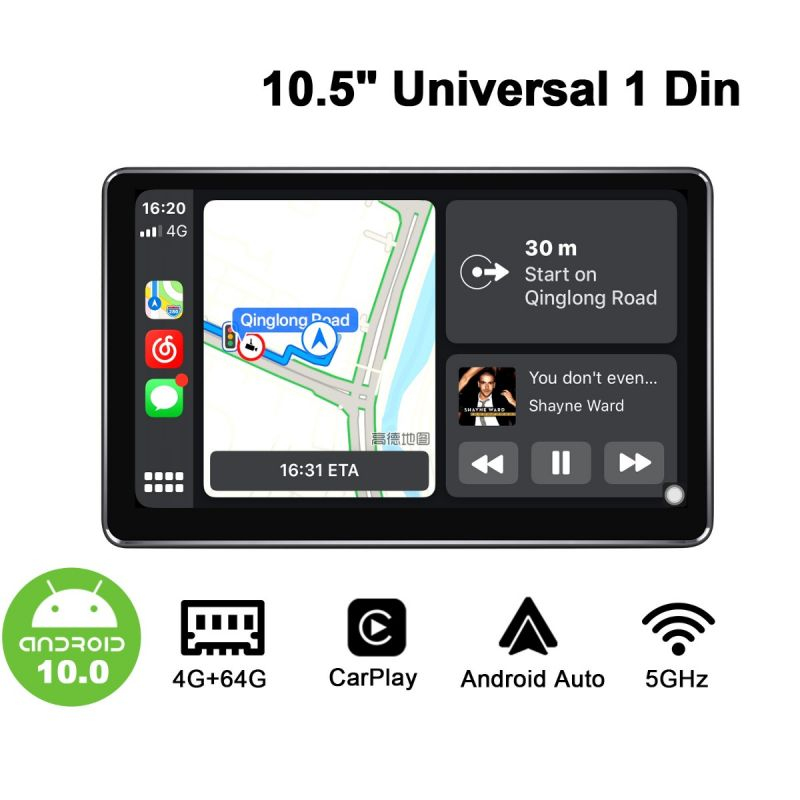 single din touch screen android auto system