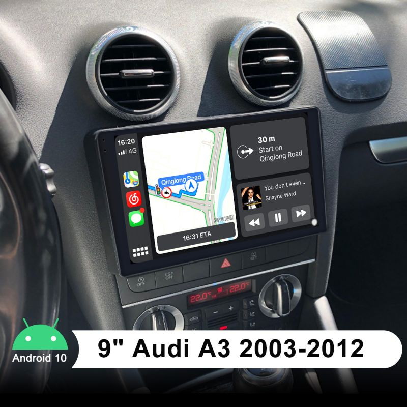 Plug and Play Audi A3 R3 S3 2003-2012 Head Unit 9 inch IPS Screen Android 10.0 Autoradio