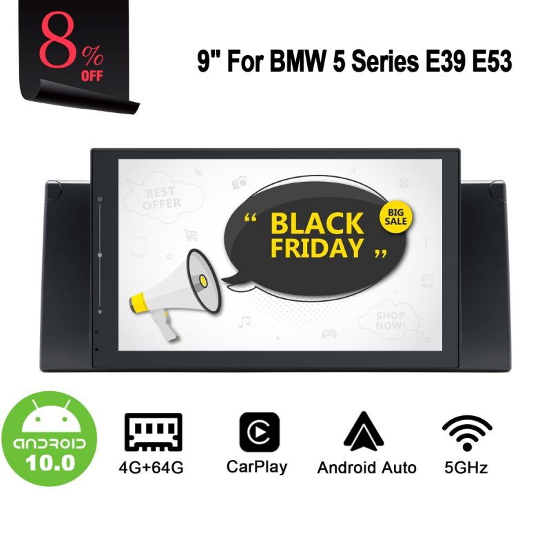 Aftermarket BMW 5 Series E39 E53 Head Unit 4G LTE Stereo Android 10.0 Car Audio System