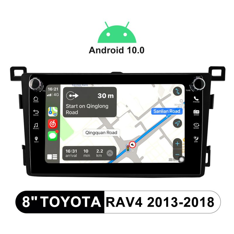 Joying 8 Inch Toyota RAV4 2013-2018 Abdroid 10 Head Unit With Physical Button