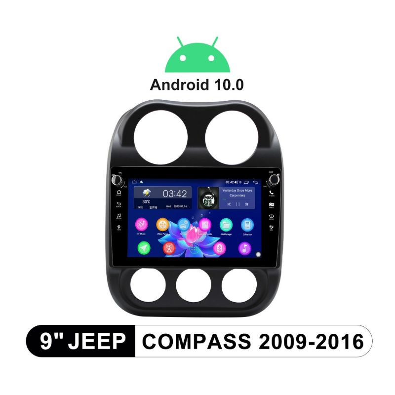 Joying 9 Inch 2009-2016 Jeep Compass Plug-And-Play head Unit With Physical Buttons