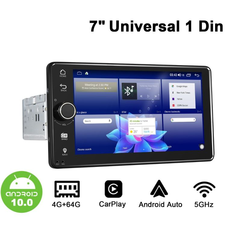 1 din car radio android 10 sat navi