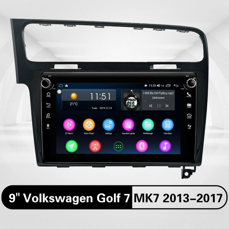 Hot Sale Volkswagen Golf7 MK7 Android Car Stereo Replacement with 4GB/64GB 9 Inch IPS Screen Radio